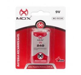 Bateria Mox 9V Recarregável 240mAh - Cartela com 1