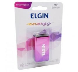 Bateria Elgin 9V Recarregável 250mAh - Cartela com 1