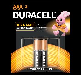 Pilha Duracell AAA - Palito - Cartela com 2 Unidades