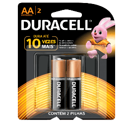 Pilha Duracell AA - Pequena - Cartela com 2 Unidades