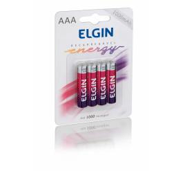 Pilha Elgin AAA Palito Recarregável 1000mAh - Cartela com 4