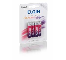 Pilha Elgin AAA Palito Recarregável 900mAh - Cartela com 4