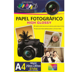 Papel Fotográfico High Glossy 180g com 50 Folhas