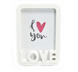 """Porta Retrato de PVC 15X21 Vertical """"LOVE"""" Branco - 4294"""