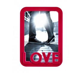 """Porta Retrato de PVC 15X21 Vertical """"LOVE"""" Vermelho - 4294"""