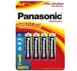 Pilha Panasonic AA Alcalina Pequena - Cartela com 4