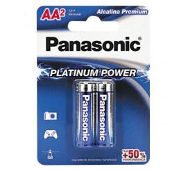 Pilha Panasonic AA Alcalina Premium - Pequena - Cartela com 2