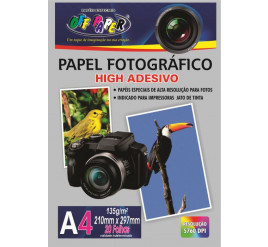 Papel Fotográfico Adesivo A4 - Off Paper 135g 20 Folhas