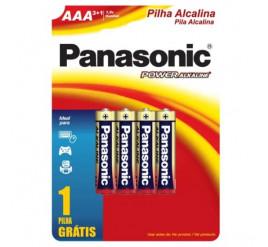 Pilha Panasonic AAA Alcalina Palito - Cartela com 4