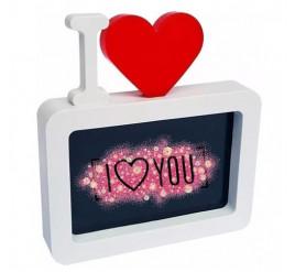 """Porta Retrato PVC """"I ♥"""" 10X15 - Branco - 3251 / 0515"""